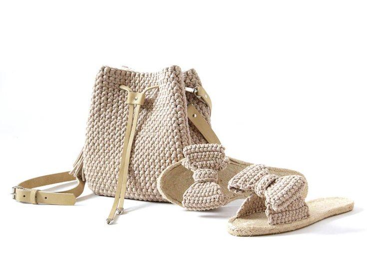 Summer set bag and slippers Beach bucket bag and greek sandals Crochet bag espadrilles Woven everyda