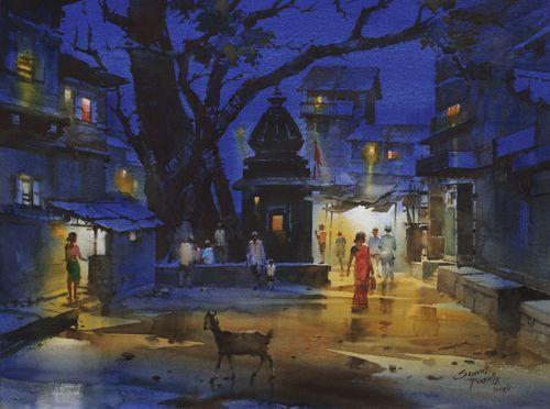 prafull sawant paintings | Watercolor Landscape Painting | Prafull Sawant