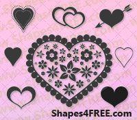 55 Hearts Photoshop & Vector Shapes (CSH)
