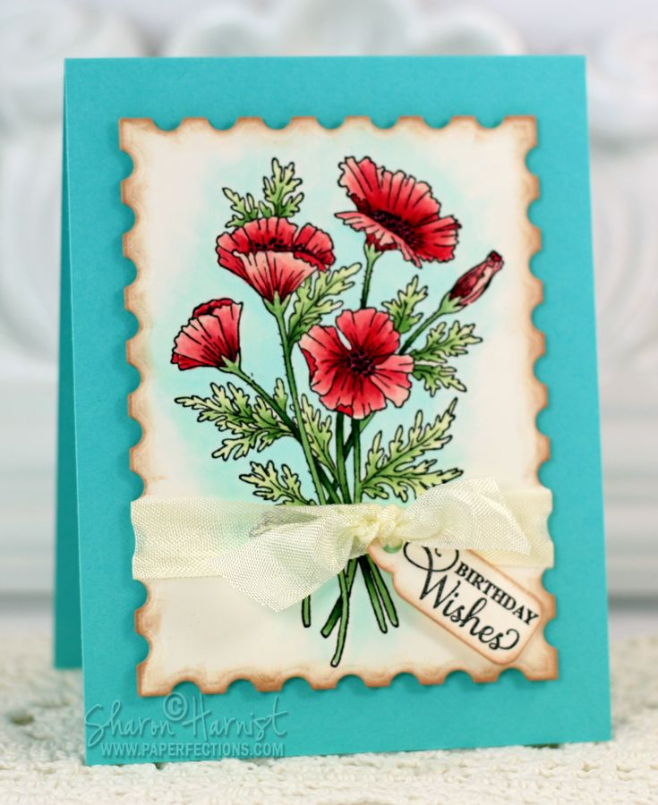 JustRite Poppies Labels 29 Stamp Set Colored With Copic Markers By Sharon Harnist