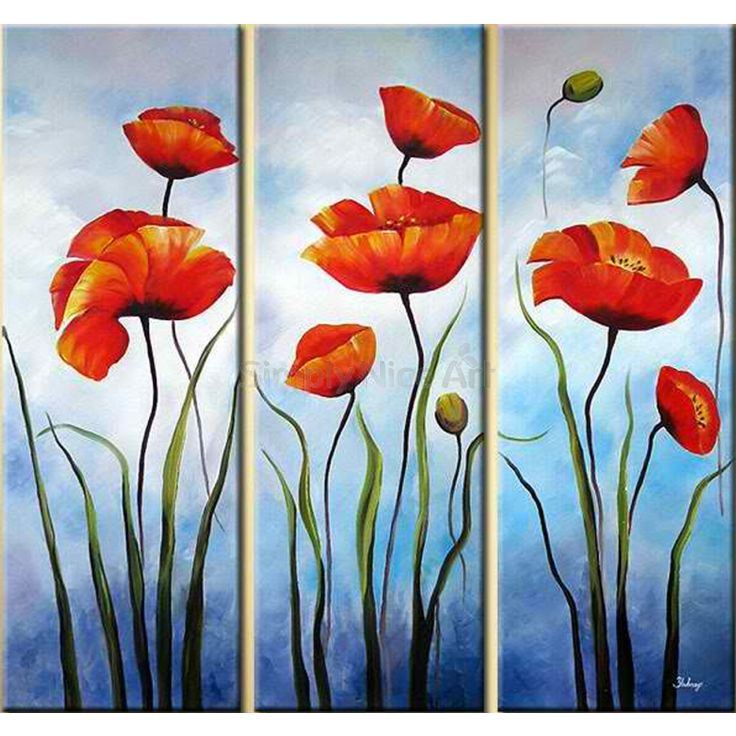set+of+three+paintings | Three Red Flowers 3 pieces set Painting