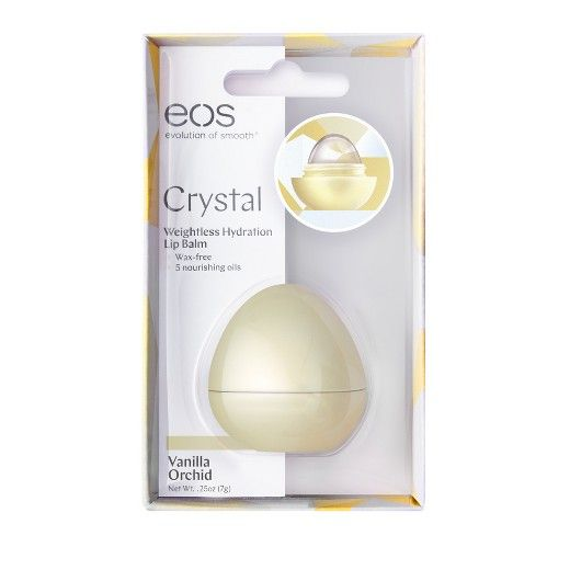 eos Crystal Vanilla Orchid is the next generation of lip care for perfectly hydrated lips without the heaviness of wax. The goodness of nourishing oils in a wax-free lip balm that lets your natural beautiful lips shine through. <br>Weightless hydration for soft, healthy-looking lips in a new jewel-inspired shape.
