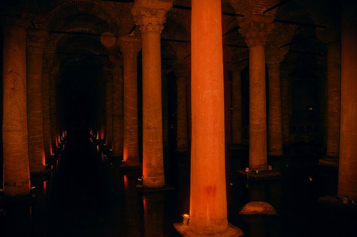Columns of the Basilica Cistern by Ayhan Duran  #Basilica #Cistern #Columns #color #historic #istanbul #sarnıç #turkey #yerebatan