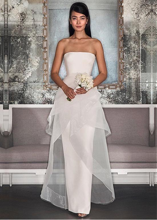 Magbridal Fabulous Organza & Satin Strapless Neckline A-line Wedding Dress With Ruffles