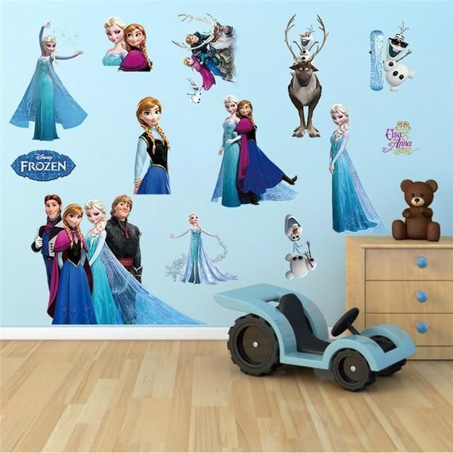 Disney Frozen Elsa Anna Olaf Removable Wall Stickers Kids Home Decor USA