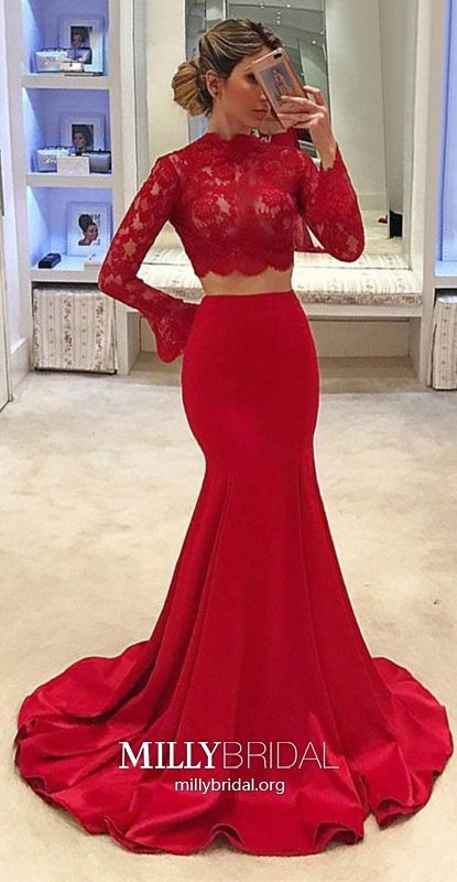 d65514a9cc353 Red Prom Dresses Long, Mermaid Prom Dresses Two Piece, Long Sleeve Prom  Dresses Lace, High Neck Prom Dresses Tulle