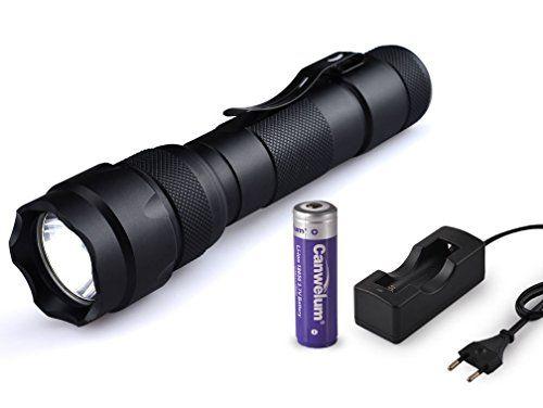 Canwelum - Linterna LED Cree T6 alta potencia, linterna recargable led potente (Un juego completo de la linterna, batería litio 18650 y cargador Euro)