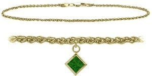 10K Yellow Gold 9 Inch Wheat Anklet with Created Emerald Square Charm Elite Jewels. $179.50. Save 44%!