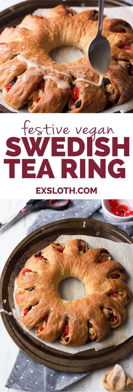 This festive vegan tea ring is a vegan take on a Christmas breakfast favourite: a Swedish tea ring | http://ExSloth.com