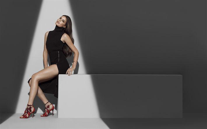 Download wallpapers Camila Queiroz, 4k, beauty, black dress, brazilian actress, fashion models