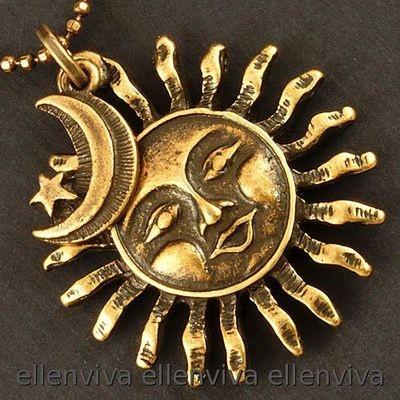 Nostalgic Smiling Sun Moon Star Necklace New NE430CP   eBay