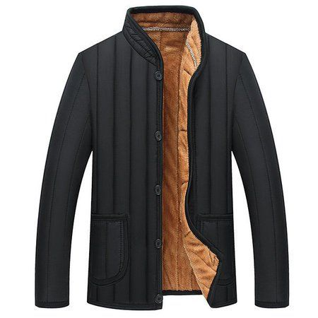 Shop Men's Tops - Black Solid Long Sleeve Turn-down Collar Polyester Jacket online. Discover unique designers fashion at JustFashionNow.com.