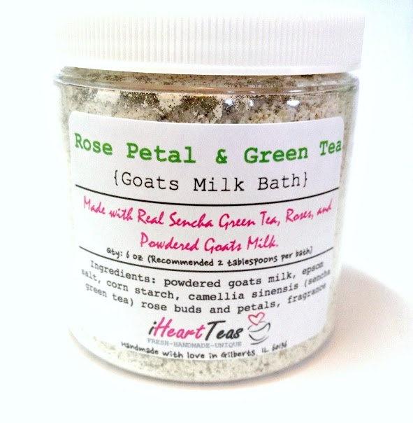 Rose Petal & Green Tea Goats Milk Bath by iHeartTeas on Etsy, $11.95