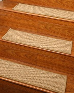 """Soho"" Sisal Carpet Stair Treads, 100% Sisal, Sage Serged Cotton Border, 9"" x 29 - transitional - Stair Tread Rugs - Natural Area Rugs"