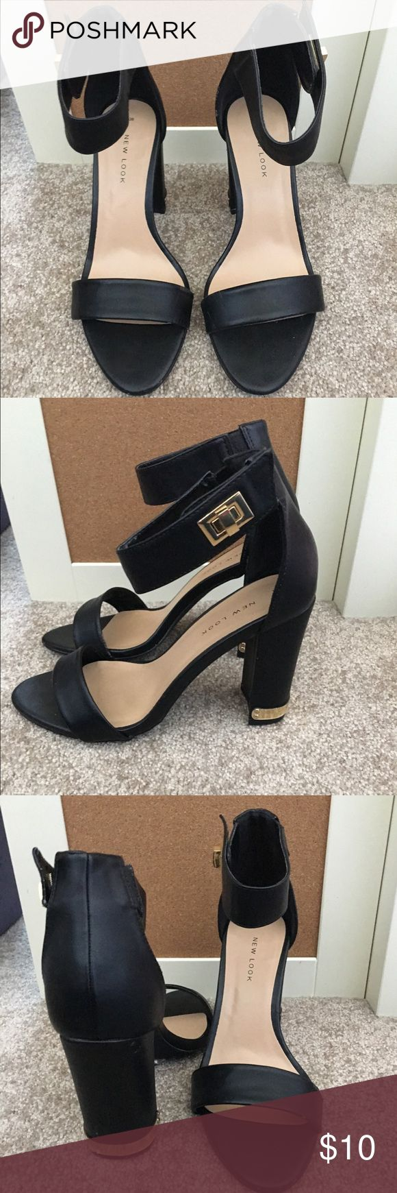 New Look black heels Super trendy heels with gold detailing. Im a 6.5/7, but these were a little too bug on me New Look Shoes Heels