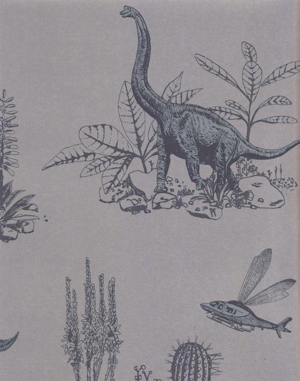 Dinosaur Wallpaper Grey