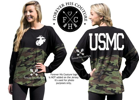USMC Girlfriend Pom Pom Jersey tee Marine by ForeverHisCouture