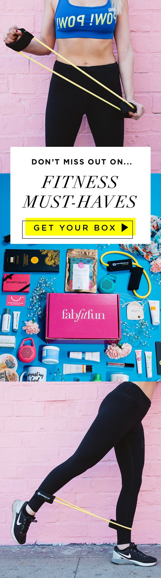 """Put the """"Fit"""" in your life with a box of FabFitFun! Treat yourself to one of our seasonal boxes to get $200+ of full-size fitness, beauty, and fashion products. It's everything you need to help you feel and look your best. Only $13.33 a month with code FITNESS"""