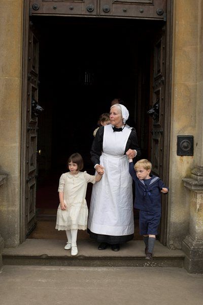 Downton Abbey Christmas special 2014: preview photographs   Sybbie & George with Nanny, Marigold with Molesley?