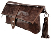 Rustic brown leather fold-over 'Cass' bag. (S/S 2011)