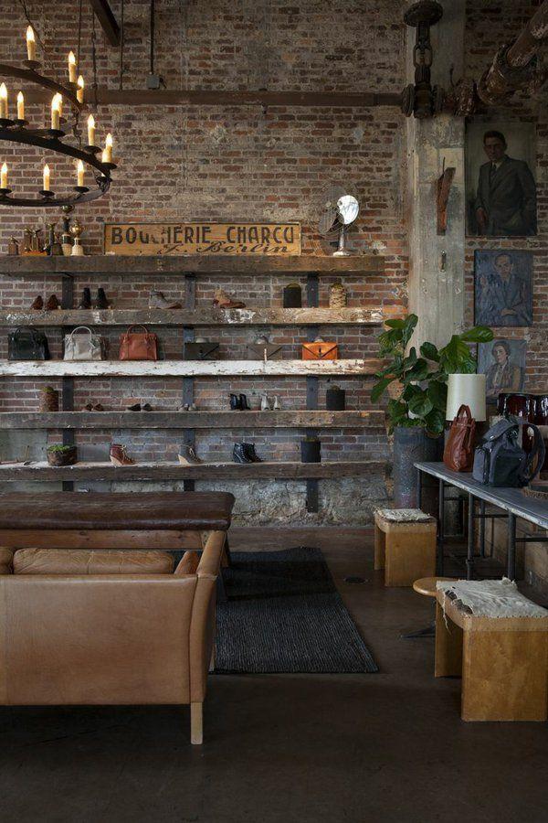 backstein tapete landhausstil schuhladen einrichten - Interieur Mit Rustikalen Akzenten Loft Design Bilder