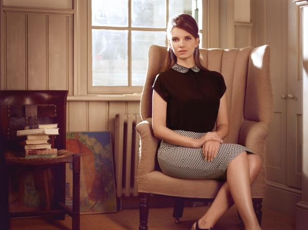 """A Jacquard skirt  combined with studded collar creates a striking look"" - embellished collar shirt and Jacquard pencil skirt"