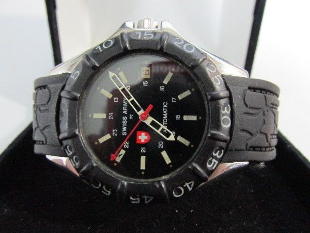 Nice RARE Swiss Army Date Black Dial & Rubber Band SS Men's Automatic Watch 39mm #SwissArmy #Sport