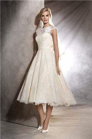 Ball Gown High Neck Tea-length Lace Wedding Dress