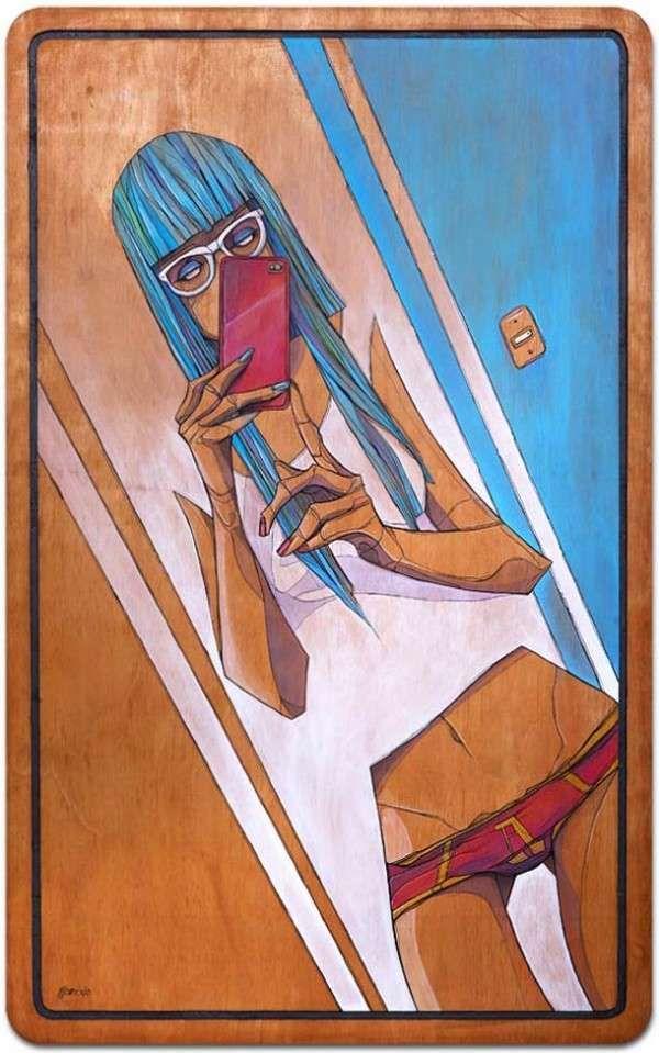 Narcissistic Self-Portait Illustrations : iPhone Self-Portrait