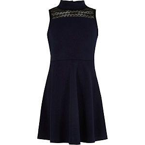 Girls navy lace panel scuba dress