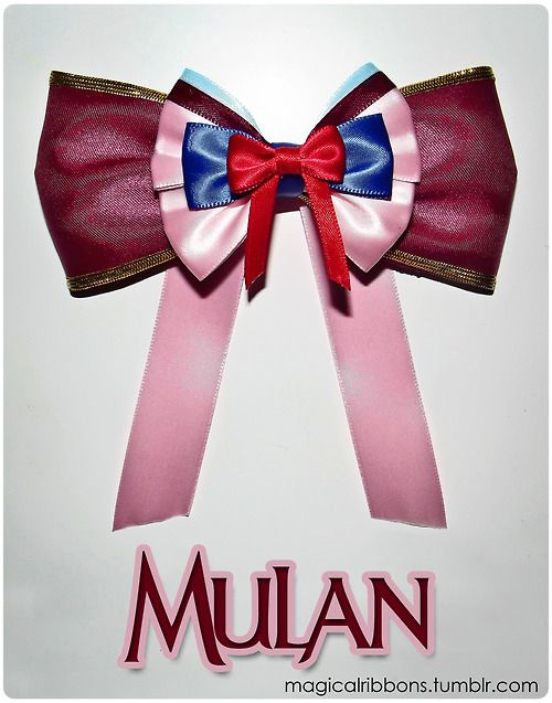 """This girl makes AMAZING bows based on each disney character.  Her site is called """"Magical Ribbons,"""" and this bow is the Mulan. :)"""
