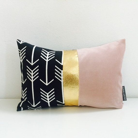 Black and White Arrow Pillow Cover 13x18 Lumbar by sheshappydesign