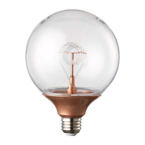 IKEA NITTIO LED bulb E27 20 lumen Globe copper-colour 120 mm Uses LED, which consumes up to 85% less energy and last 20 times longer than incandescent...