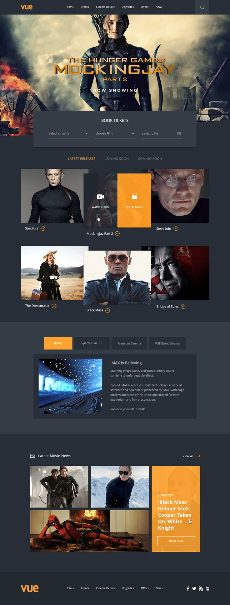 I regularly visit the VUE website when visiting the cinema and think it could be improved, so I decided to give it a go as a little side project...