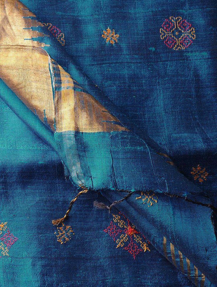 Blue-Golden Tussar Silk Zari Kasuti Embroidered Dupatta - Buy Accessories > Dupattas > Blue-Golden Tussar Silk Zari Kasuti Embroidered Dupatta Online at Jaypore.com
