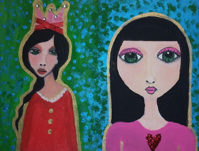 """Darling? Darling!"" 2014 Mixed Media on 6x8 canvas panel by Kelli Renee."