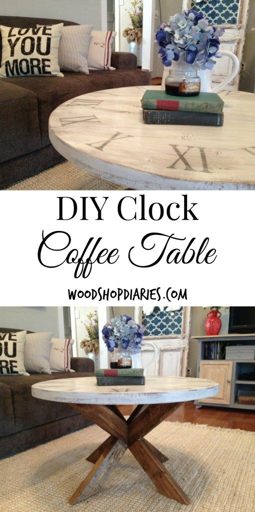 You can make this adorable clock coffee table for about $25 and a little time in the shop!--Woodshop Diaries