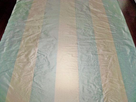 STROHEIM ROMANN JUSTINE Blue Cream Stripes By Elegantfabrics1 Silk FabricCurtain FabricBlue CreamYardsDining Room