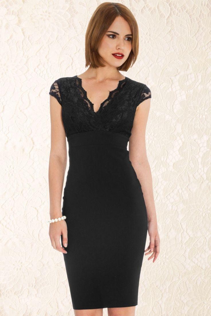 In deze 50s Isabelle Lace Pencil Dress in Black van Vintage Chic was het nog nooit zo gemakkelijk om er geweldig uit te zien! Dit klassieke aansluitende model heeft een sexy overslag halslijn die net genoeg decolleté laat zien, een met kant bezette top en semi doorschijnende kanten korte kapmouwtjes, très chique! De top is …