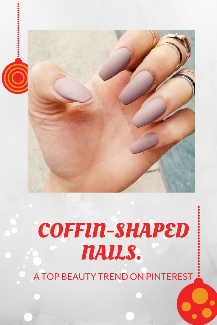 Coffin-shaped nails. A top beauty trend on Pinterest, +69% this year. Pick your one of 2016's nail trend here!