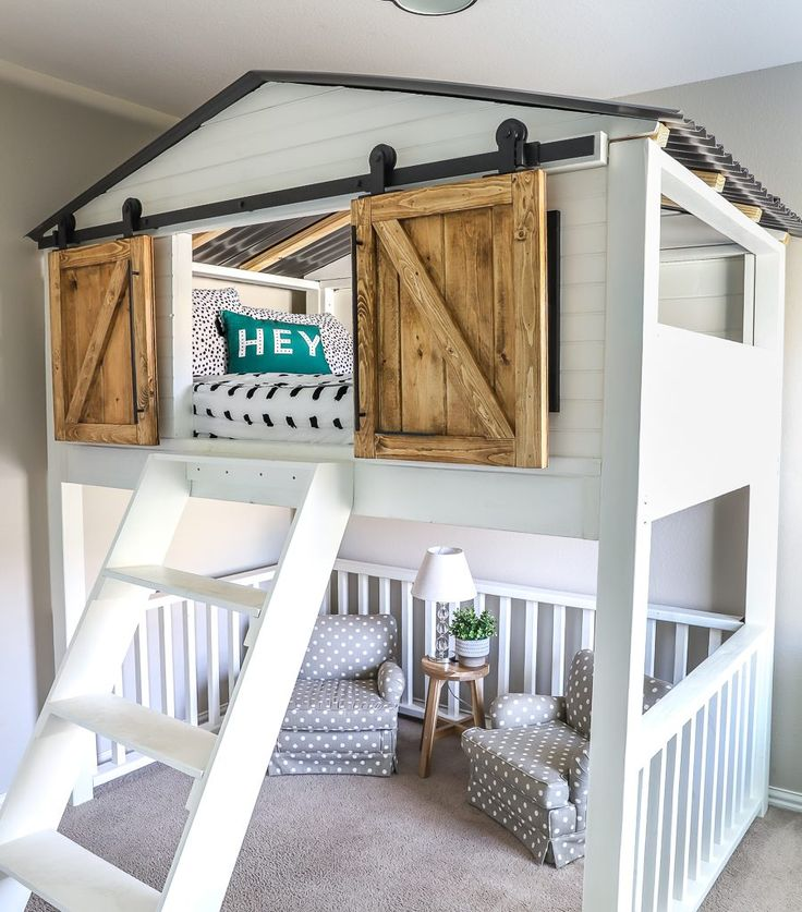 Sliding Barn Door Loft Bed - Spruc*d Market | Diy sliding ...