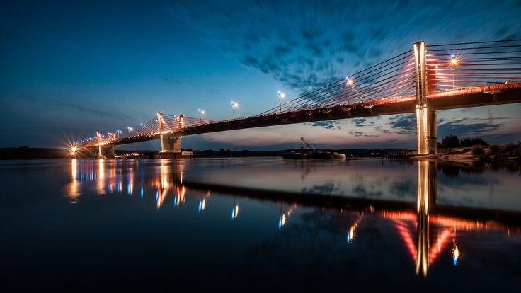 Kwidzyn, Poland - bridge over Vistula, the largest extradosed bridge in Europe, 808 m.