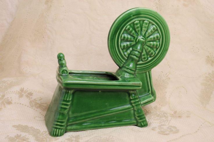 Vintage McCoy 1953 Wenona Ill Centennial Spinning Wheel Ceramic Pottery Planter