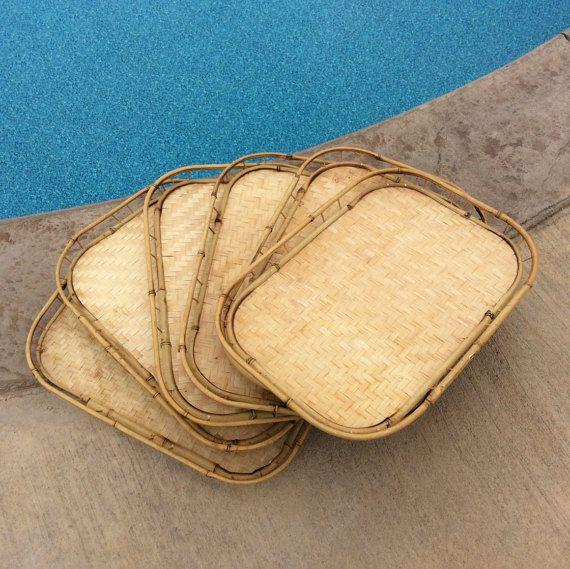 Vintage Set Of 6 Large Bamboo Trays Serving Coastal Decor Party Tiki Tropical Beach