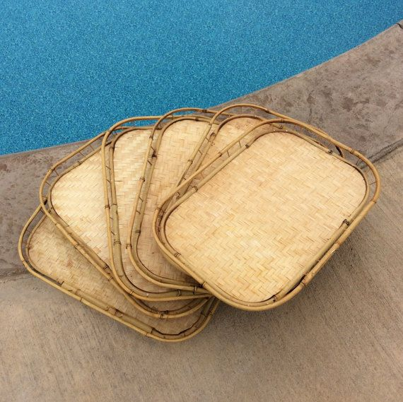 Vintage Large Bamboo Trays set of six Serving by YellowHouseDecor