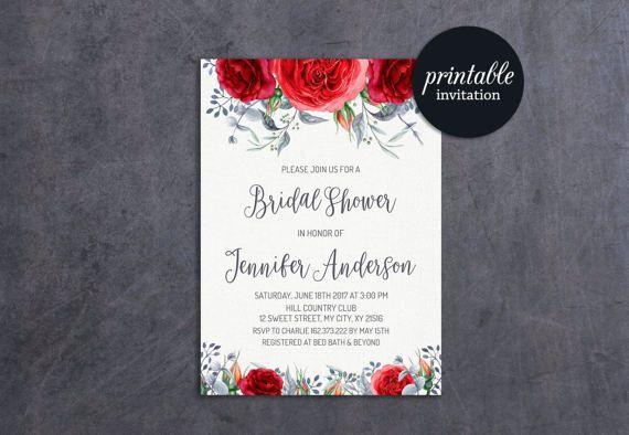 Red Bridal Shower Invitation, Floral Bridal Shower Invitation Spring Boho Bridal Shower Invitation Red Floral Bridal Shower Invitation