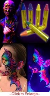 Black Light Reactive Face & Body Jumbo Makeup Sticks (Set of 6)  $3.99