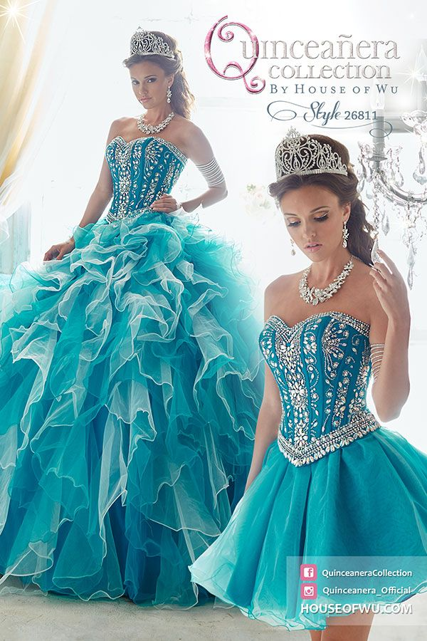 #QuinceaneraCollection - Style 26811. Available in Pink, Teal. Put on a gown that will make your event something extraordinary, with tulle ruffles, symmetrically beaded bodice, removable ball gown skirt, and lace-up back. Go to howstorelocator.com to find an authorized retailer near you!