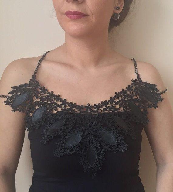 Black Necklace Bib Necklace  Necklace Body Jewelry Lace by izse