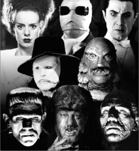 Old classic horror movies~The Bride of Frankenstein, The Invisible Man, Count Dracula, The Phantom of The Opera, Creature From The Black Lagoon, Frankenstein, The Wolf Man and The Mummy.